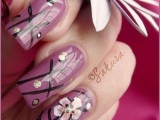 flower Shaded Pink Colour Nails