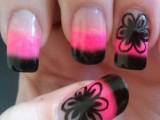 Simple Black Flower Nail Designs with pink nail polish
