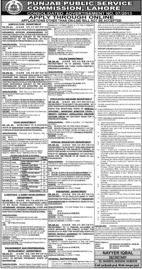 Population Welfare  Department Jobs by Public Service Commission