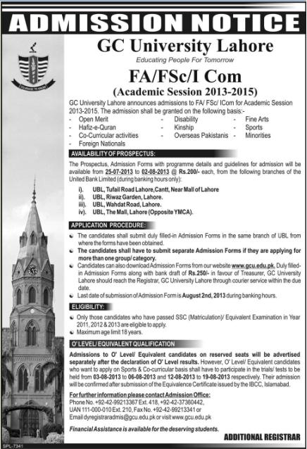Admissions open in G C University  Lahore