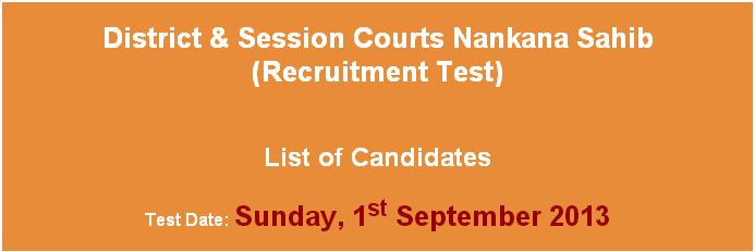List of Candidates District Nankana Session Court Jobs