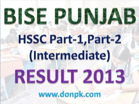 Punjab Boards Intermediate Part-II Result 2013