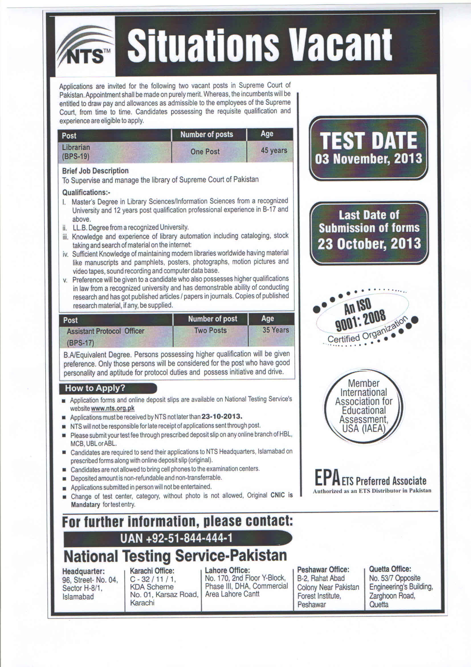 Supreme Court of Pakistan Librarian & Protocol Officer NTS Test