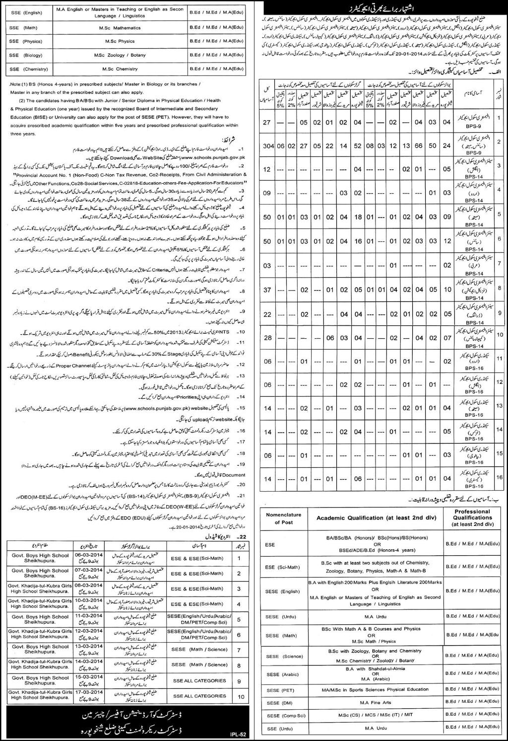 03 January Daily Express Newspaper Educators Jobs for District Sheikhupura