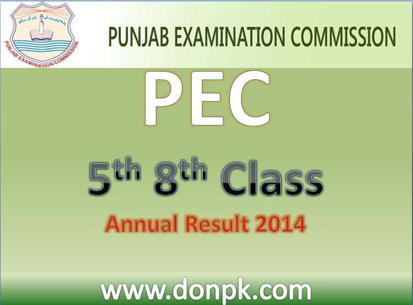 Online PEC All Bises 5th 8th Class result 2014