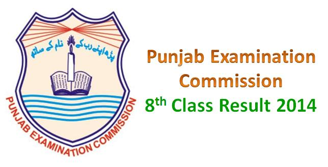 Punjab Examination Commission 8th Class Result 2014
