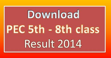 Download PEC 5th & 8th class Result 2014