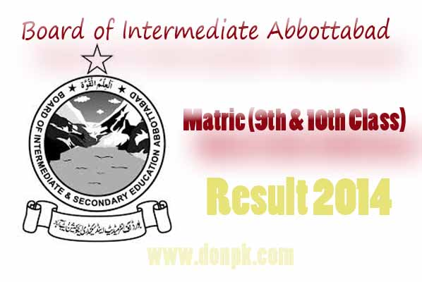BISE Abbottabad Board Matric 9th – 10th Class Annual Result 2014