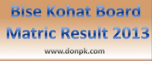 kohat Board matric part 1 and part 2 result 2014