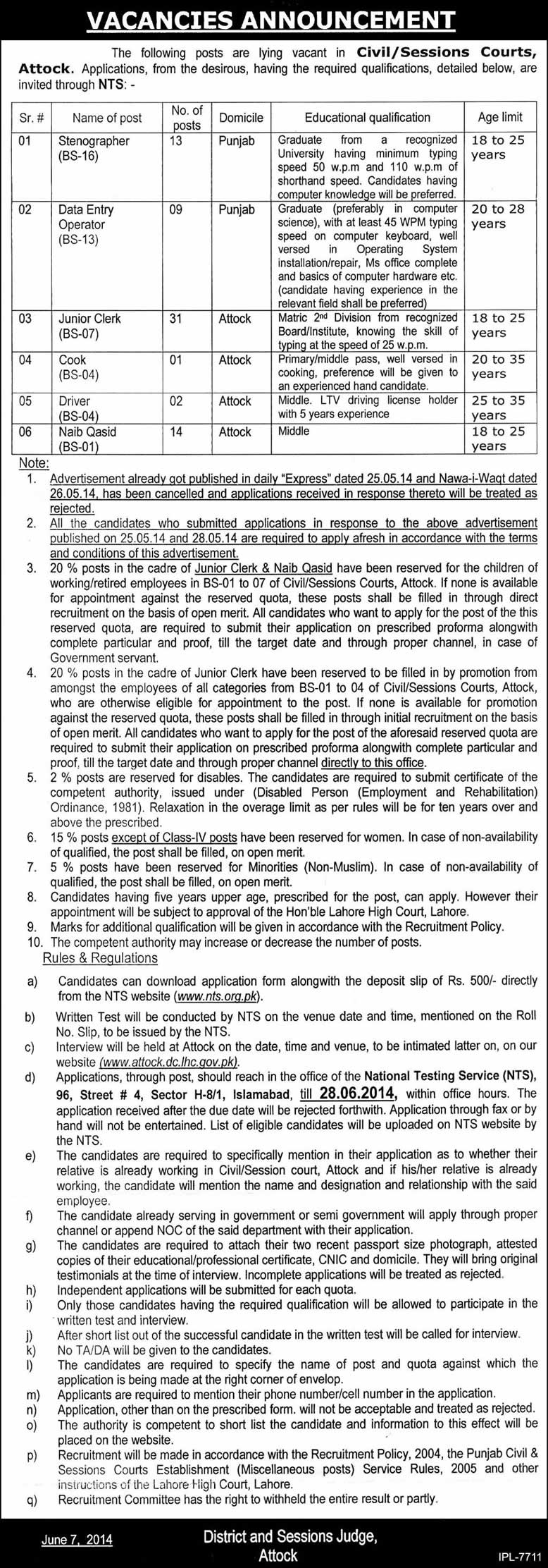 session court Attock jobs 2014