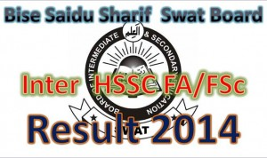 Bise Saidu Sharif Swat Board Online HSSC Inter part-I  11th Class Result 2014