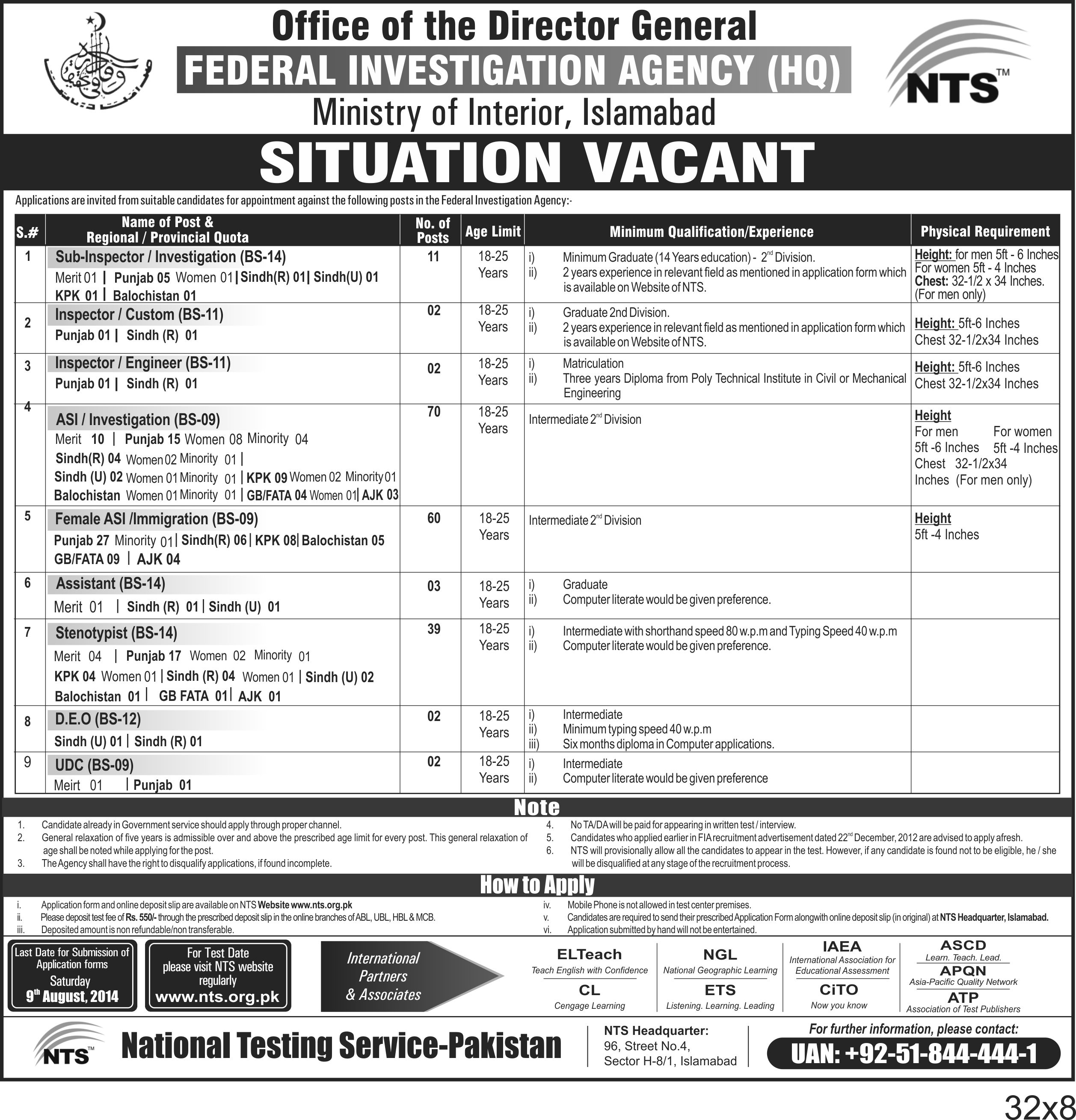 Federal Investigation Agency (FIA) Sub Inpector, ASI Stenotypist Jobs 2014