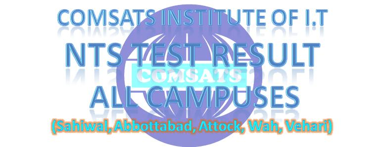COMSATS Institute Admission NTS Test Result 24 August 2014