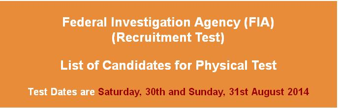 FIA Jobs Physical Test Date Announced by NTS