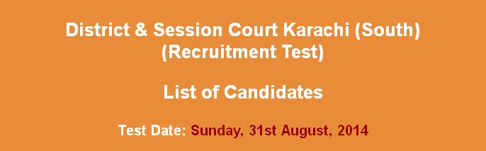 District & Session Court Karachi (South) list of Candidates