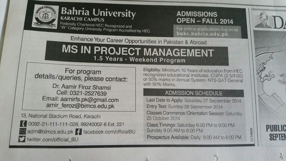 Admission 2014 MS in Project Management Bahria University