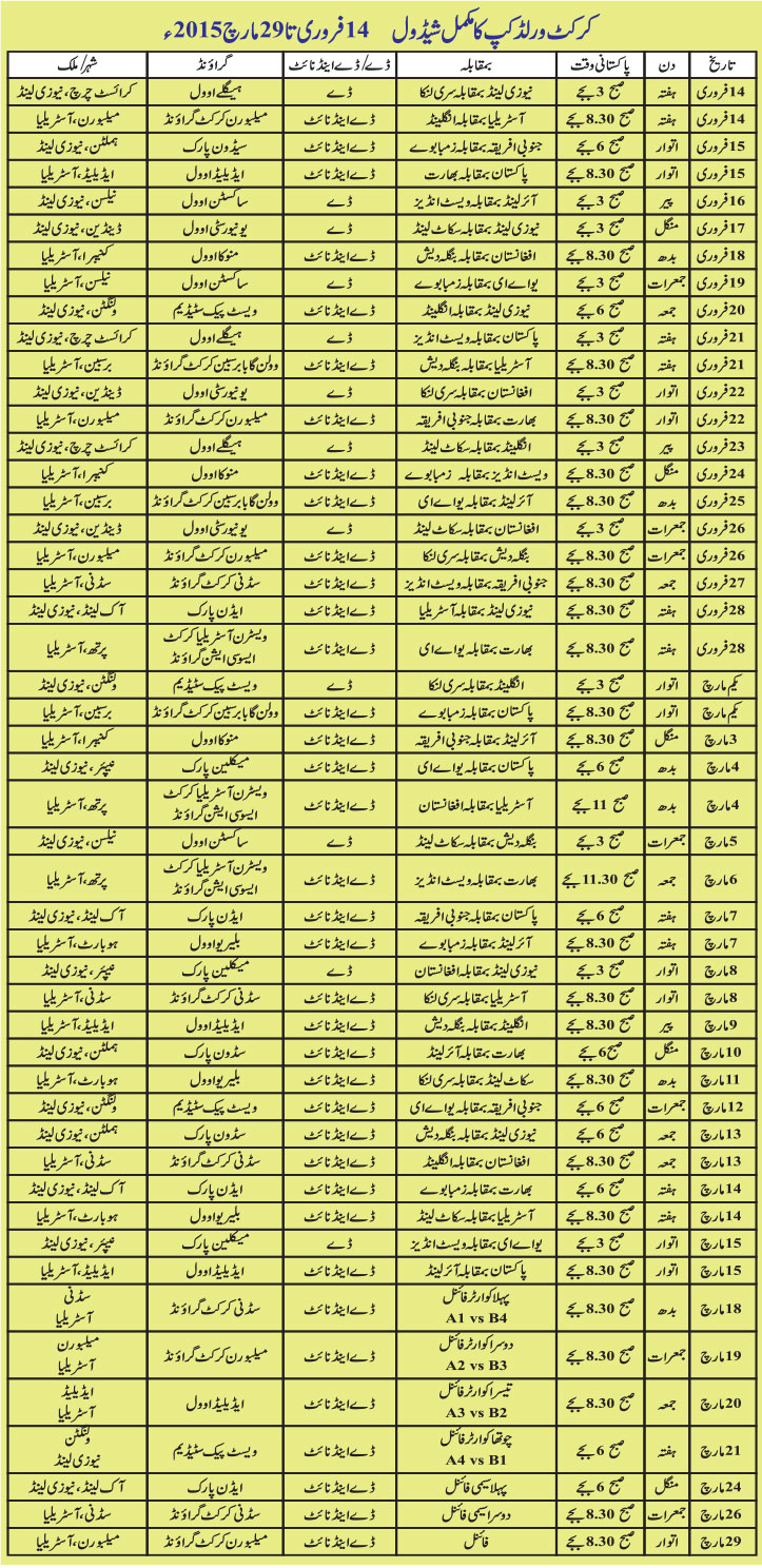 World Cup Urdu Shadul 2015 Info