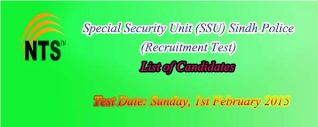 Sindh Police SSU Recruitment NTS Test Date list of Candidates