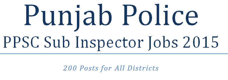 PPSC Sub Inspector jobs 2015