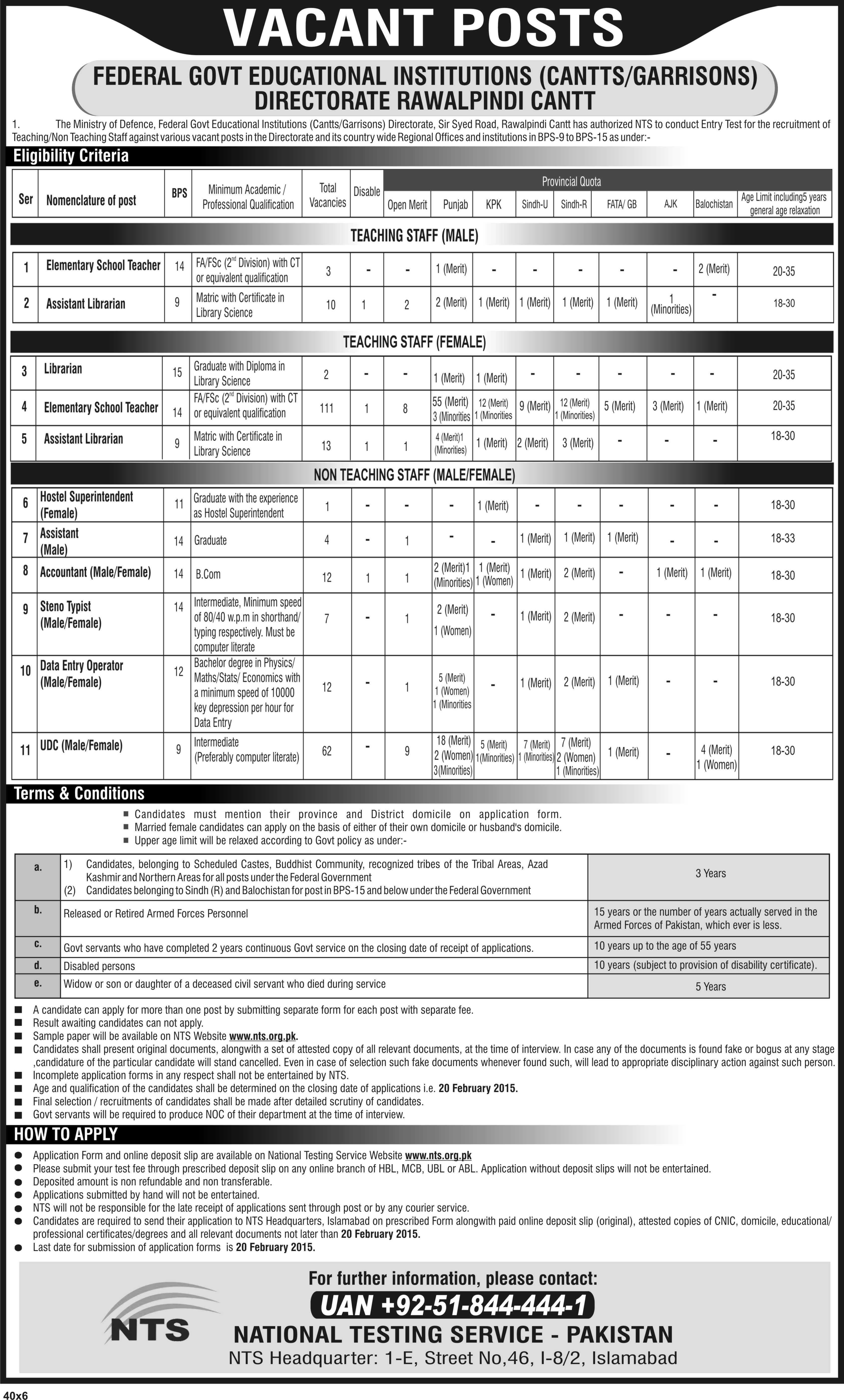 Rawalpindi Cantt Garrisons ministry of Defence jobs