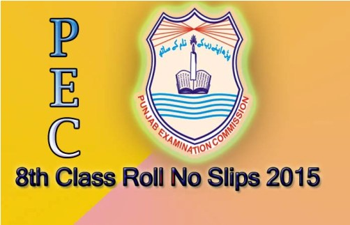 roll no Slips of 8th Class 2015