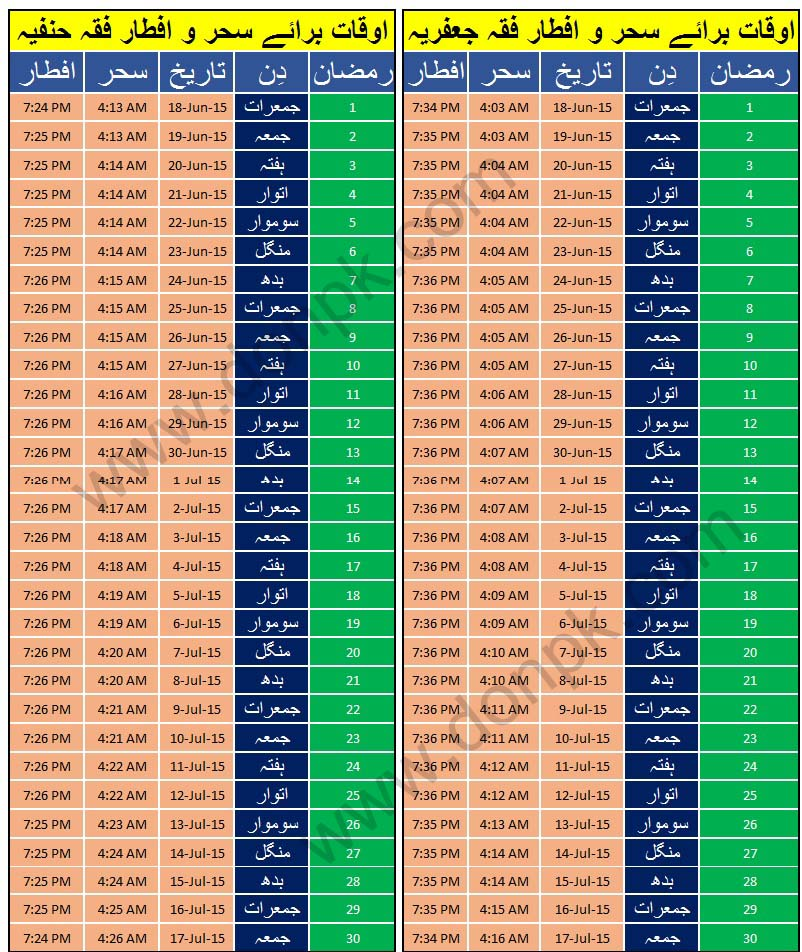 Ramadan Calendar 2015 for Karachi (Pakistan)