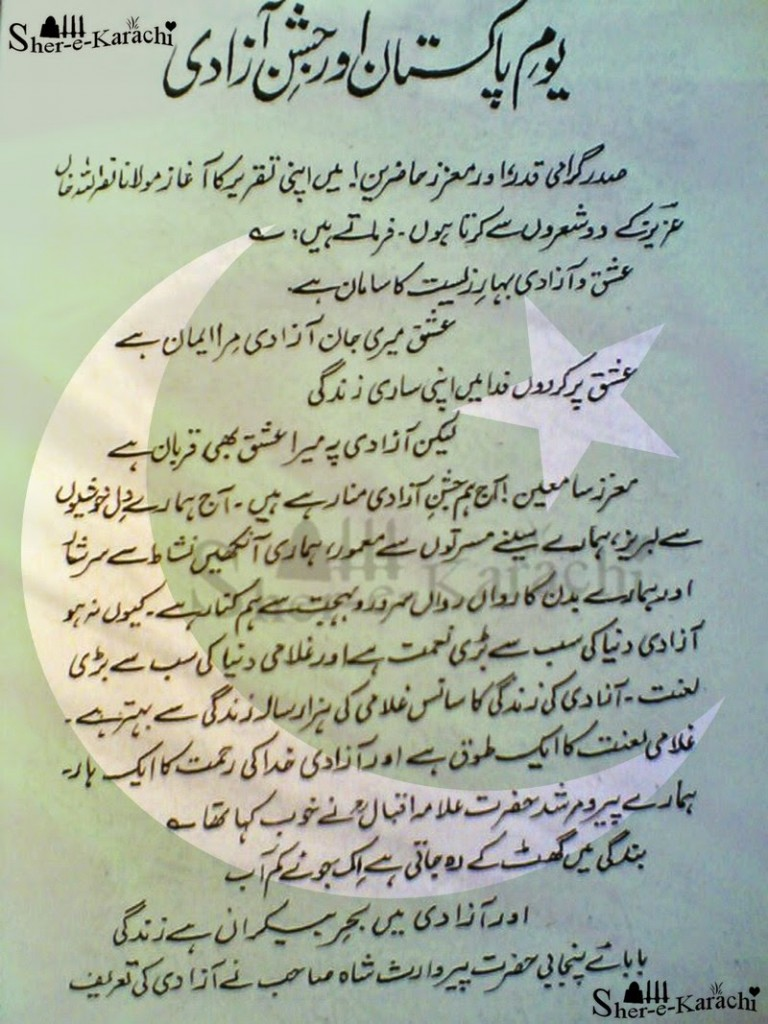 pakistan Independence Day Speech In English