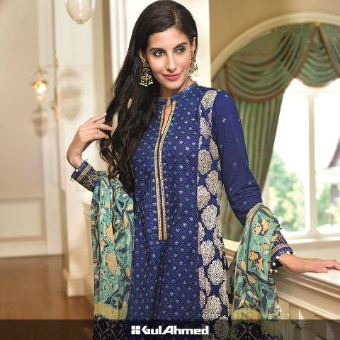Gul Ahmed Chiffon Dress Collection 2015
