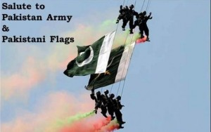 Pakistan army with flag