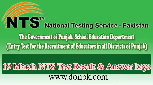 19 March Teachers NTS Test Result Answer keys 2016
