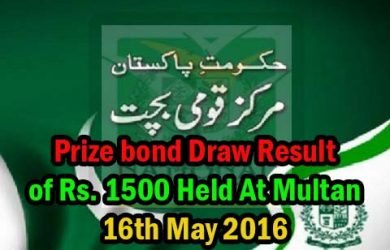 prize bond Draw result of Rs.1500