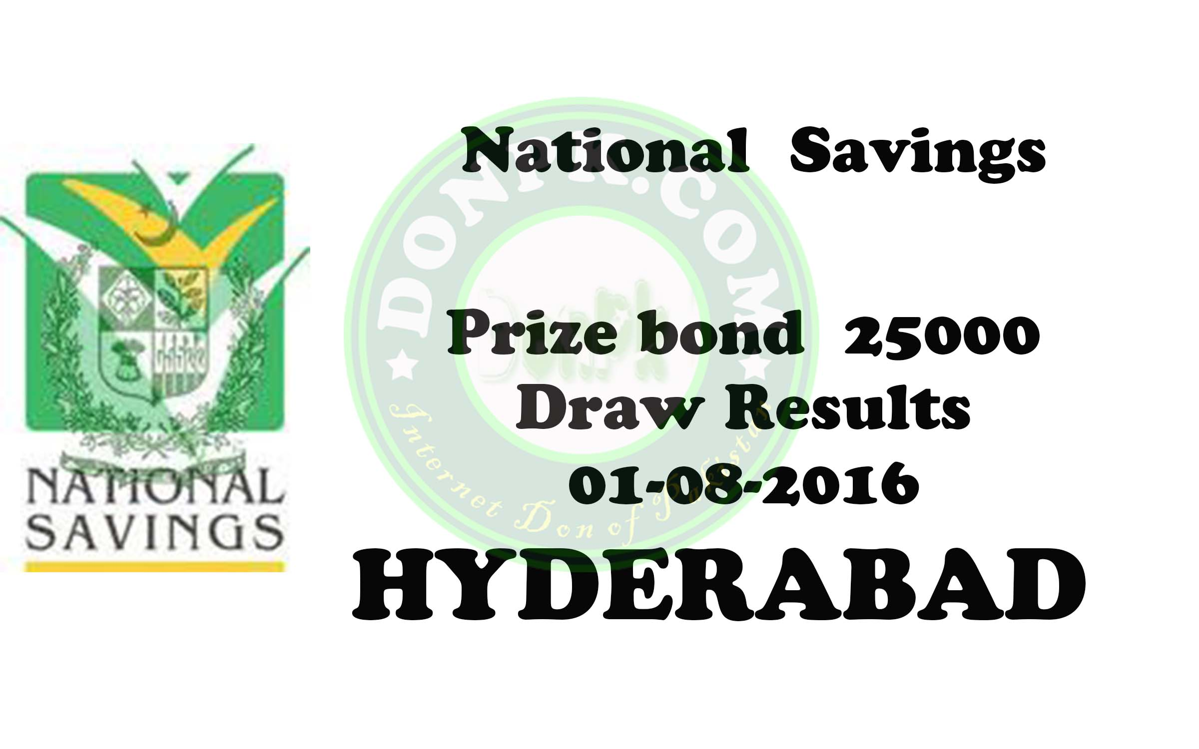 Prize bond draw Results of Rs.25000 Hyderabad 01-08-2016