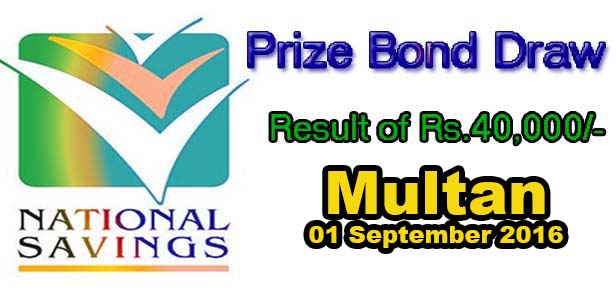 40000 Prize bond Draw Result list 01 September 2016 Multan