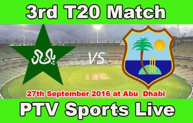 Pakistan Vs West Indies 3rd T20 live match Streaming PTV Sports 27th Sep 2016