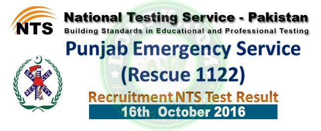 Rescue 1122 NTS Test Result Answer Keys 16th October 2016