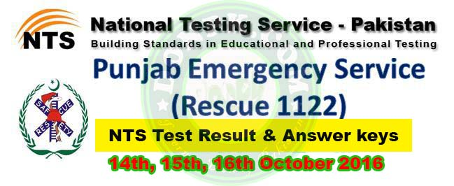 Rescue 1122 Jobs 2016 NTS Test Result Answer Keys