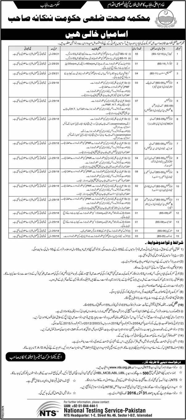 Health Department Nankana Sahib Jobs 2016