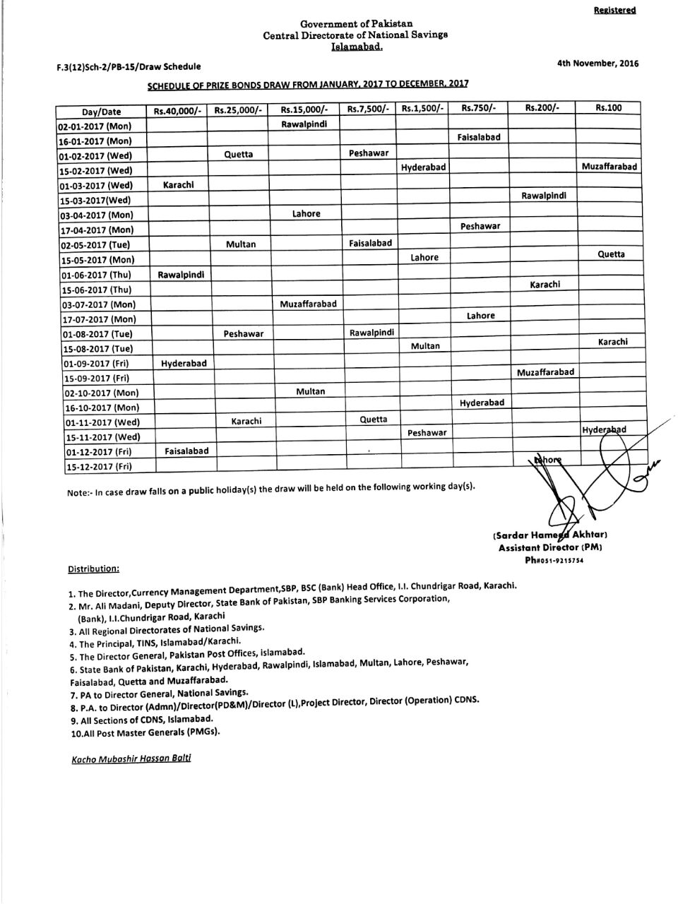 National Savings Prize bond Schedule for the year 2017