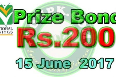 Prize bond 200 Karachi Draw results 15-06-2017 on Thursday