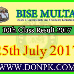 10th Class Result 2017 Bise Multan Board