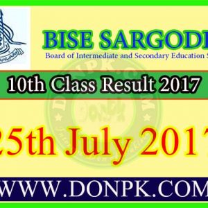 10th Class Result 2017 Bise Sargodha Board