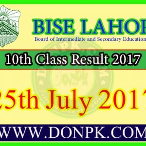 10th class result 2017 Bise Lahore board