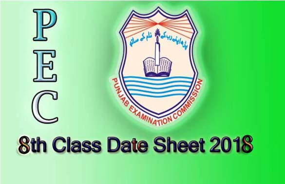 PEC 8th class date sheet 2018 Punjab Examination Commission