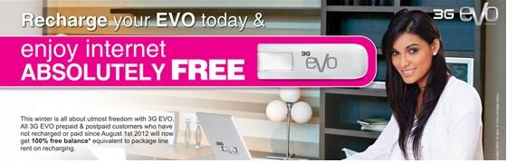 Enjoy Internet Absolutely Free By 3G EVO Recharge Offer