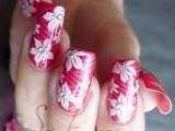 pink flower nail Art 2013