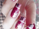 Long Nails with Black and Pink flowers