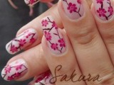 Sakaru beautiful Pink Flower nail Art and designs