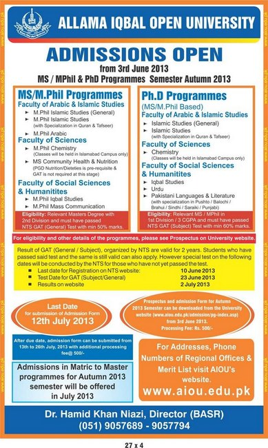 MS/M.Phil & PHD Admission opened by AIOU in Pakistan