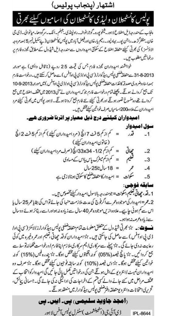Constable, Lady Constable Punjab Police Jobs 2013