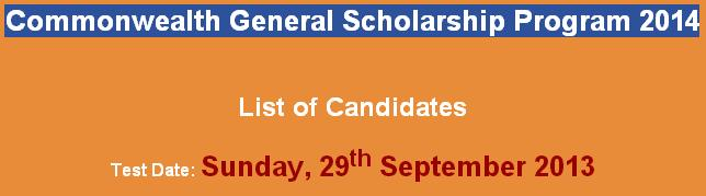 NTS Commonwealth Scholarship Program 2014 list